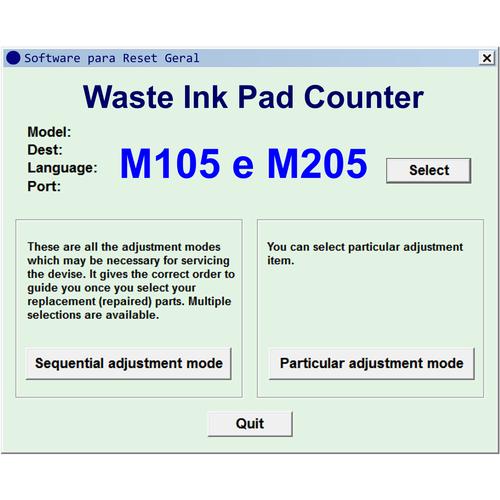 Epson M100, M105, M200, M205 - Software de Ajuste e Reset Epson / Printer  Adjustment Software and Reset Software (Sem License ID/No License ID)