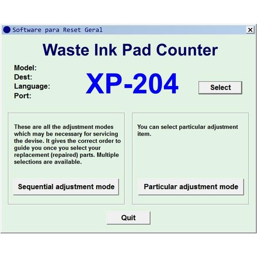 Epson WF-3720 - Software de Ajuste e Reset Epson / Printer