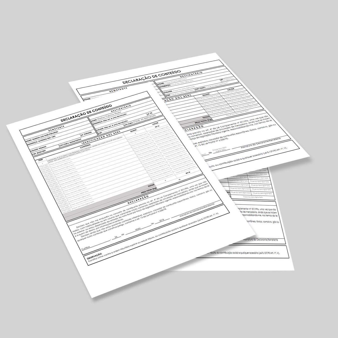 Formulário Declaração de Conteúdo - Correios