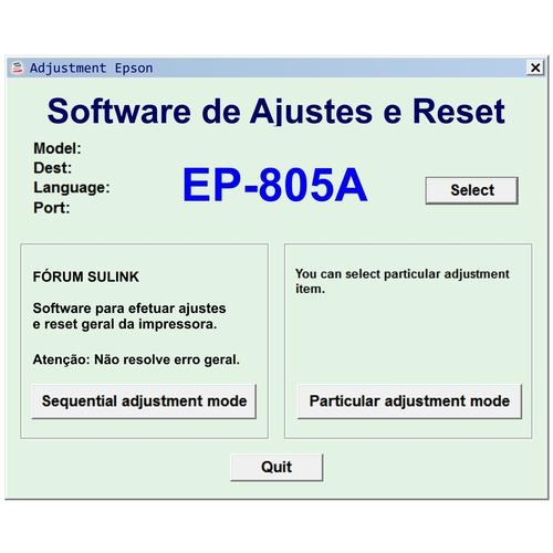 Epson EP-805A - Software de Ajuste e Reset Epson / Printer Adjustment  Software and Reset Software